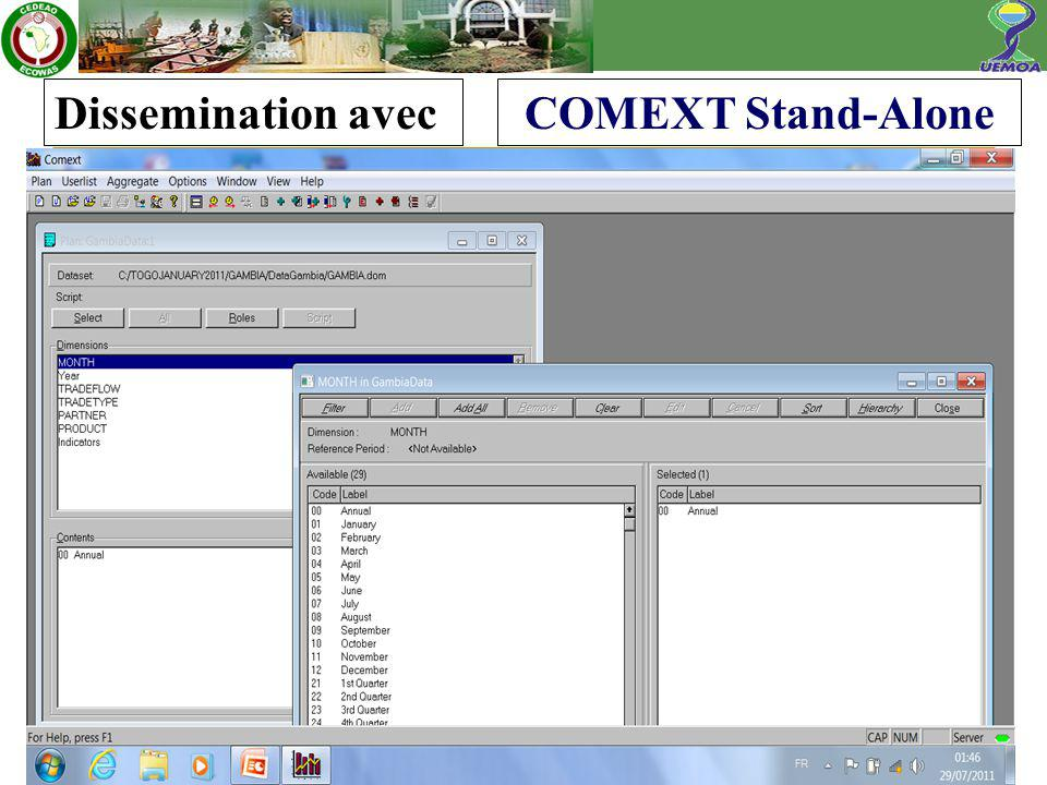 Dissemination avecCOMEXT Stand-Alone