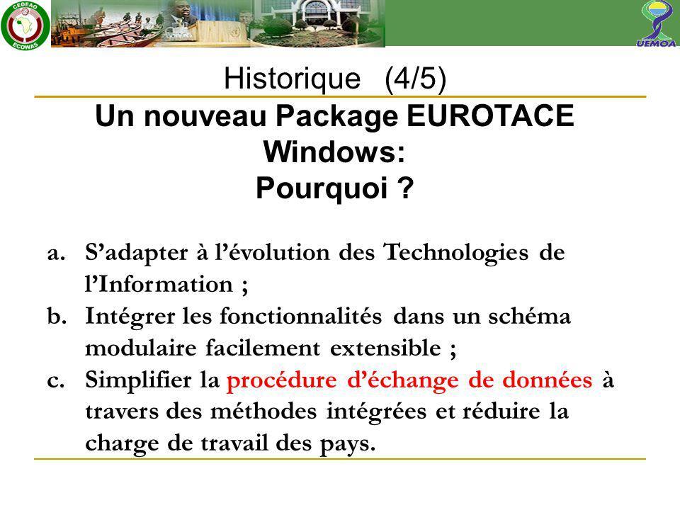 Historique (4/5) Un nouveau Package EUROTACE Windows: Pourquoi .