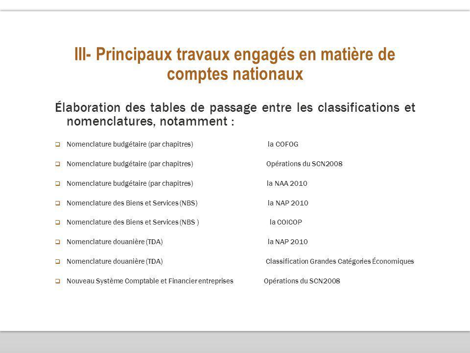 III- Principaux travaux engagés en matière de comptes nationaux Élaboration des tables de passage entre les classifications et nomenclatures, notamment : Nomenclature budgétaire (par chapitres) la COFOG Nomenclature budgétaire (par chapitres) Opérations du SCN2008 Nomenclature budgétaire (par chapitres) la NAA 2010 Nomenclature des Biens et Services (NBS) la NAP 2010 Nomenclature des Biens et Services (NBS ) la COICOP Nomenclature douanière (TDA) la NAP 2010 Nomenclature douanière (TDA) Classification Grandes Catégories Économiques Nouveau Système Comptable et Financier entreprises Opérations du SCN2008