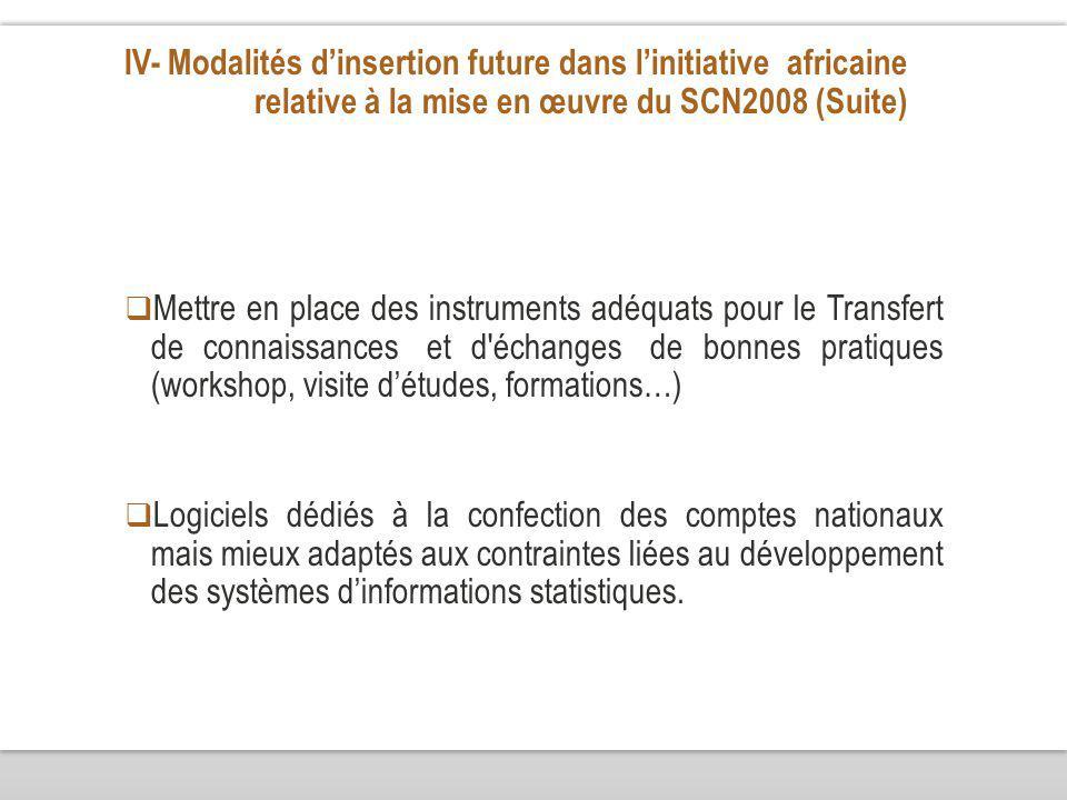 IV- Modalités dinsertion future dans linitiative africaine relative à la mise en œuvre du SCN2008 (Suite) Mettre en place des instruments adéquats pou