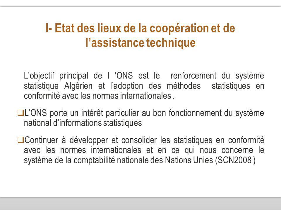 I- Etat des lieux de la coopération et de lassistance technique Lobjectif principal de l ONS est le renforcement du système statistique Algérien et ladoption des méthodes statistiques en conformité avec les normes internationales.