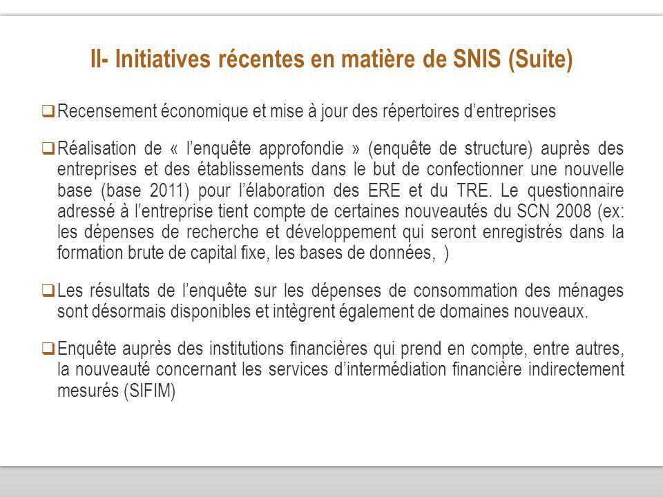 II- Initiatives récentes en matière de SNIS (Suite) Recensement économique et mise à jour des répertoires dentreprises Réalisation de « lenquête appro