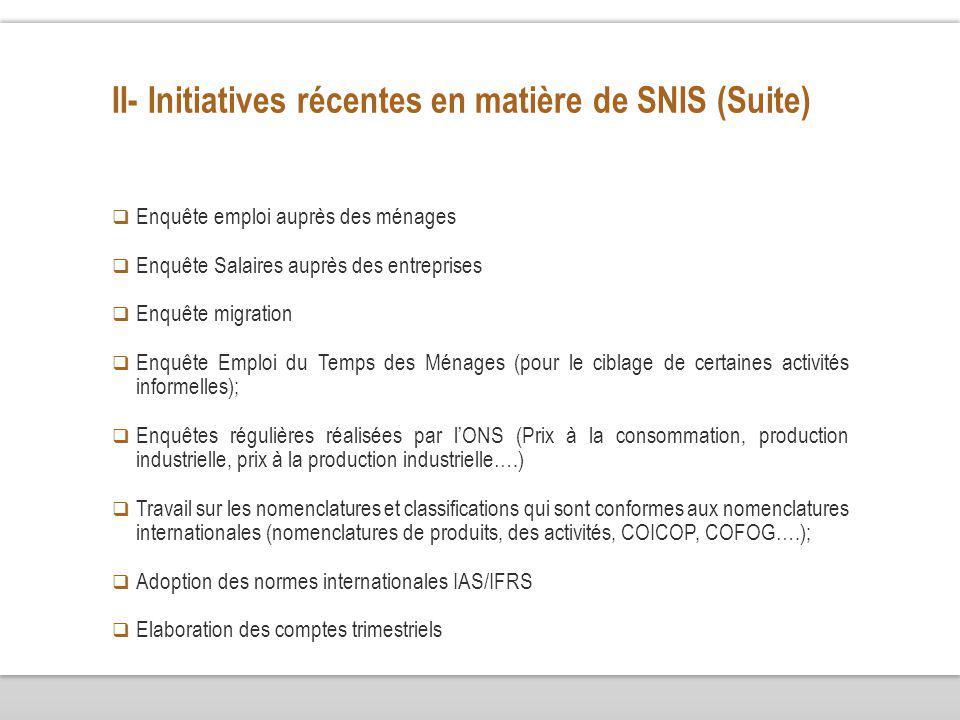 II- Initiatives récentes en matière de SNIS (Suite) Enquête emploi auprès des ménages Enquête Salaires auprès des entreprises Enquête migration Enquêt