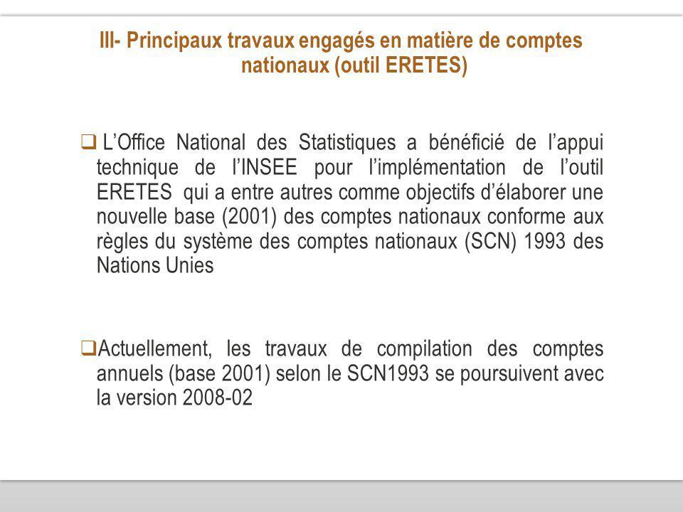 III- Principaux travaux engagés en matière de comptes nationaux (outil ERETES) LOffice National des Statistiques a bénéficié de lappui technique de lINSEE pour limplémentation de loutil ERETES qui a entre autres comme objectifs délaborer une nouvelle base (2001) des comptes nationaux conforme aux règles du système des comptes nationaux (SCN) 1993 des Nations Unies Actuellement, les travaux de compilation des comptes annuels (base 2001) selon le SCN1993 se poursuivent avec la version 2008-02