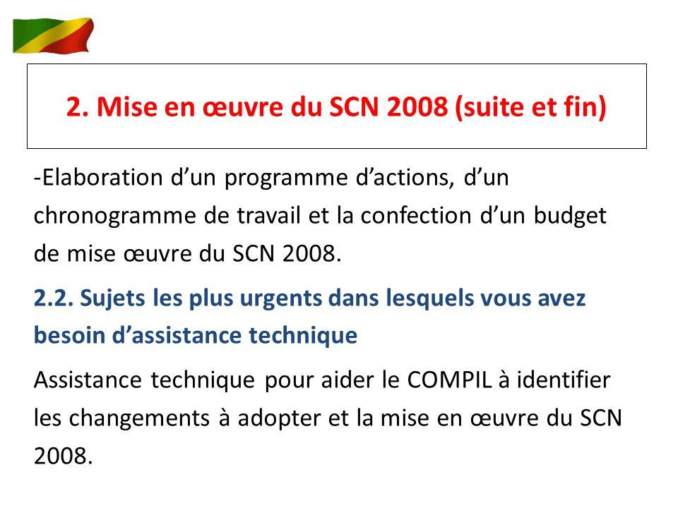 2. Mise en œuvre du SCN 2008 (suite et fin) -Elaboration dun programme dactions, dun chronogramme de travail et la confection dun budget de mise œuvre