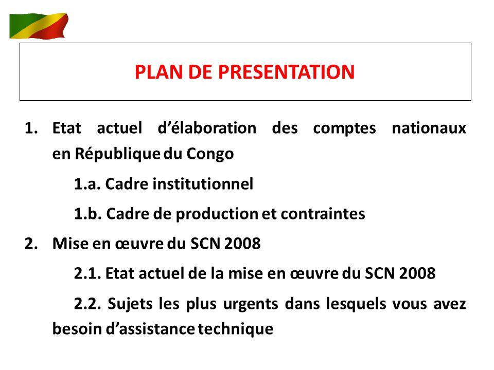 PLAN DE PRESENTATION 1.Etat actuel délaboration des comptes nationaux en République du Congo 1.a.