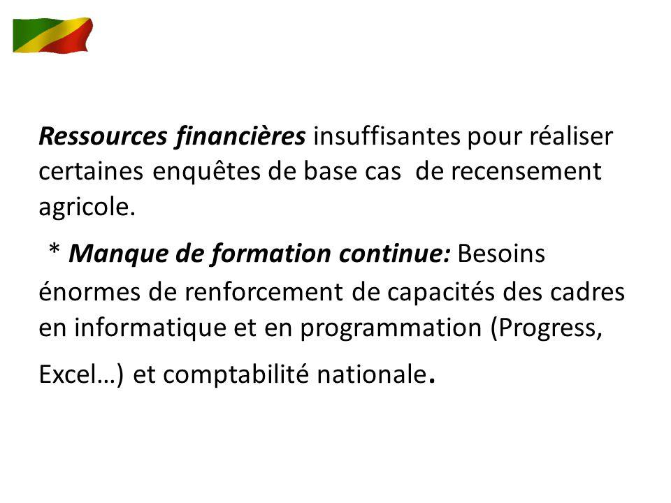 Ressources financières insuffisantes pour réaliser certaines enquêtes de base cas de recensement agricole.