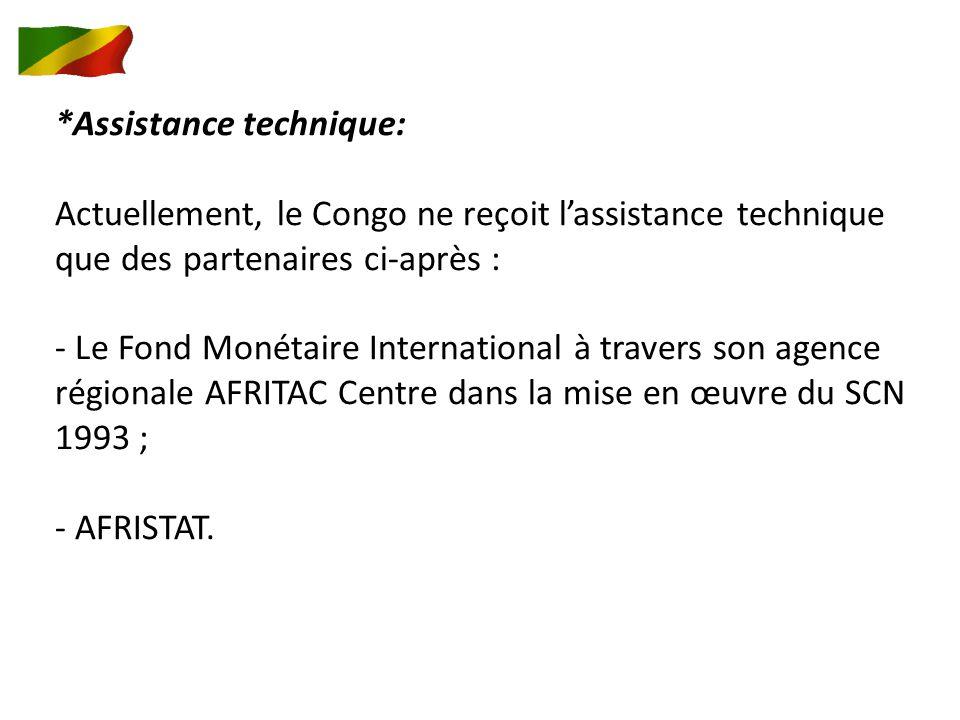 *Assistance technique: Actuellement, le Congo ne reçoit lassistance technique que des partenaires ci-après : - Le Fond Monétaire International à travers son agence régionale AFRITAC Centre dans la mise en œuvre du SCN 1993 ; - AFRISTAT.