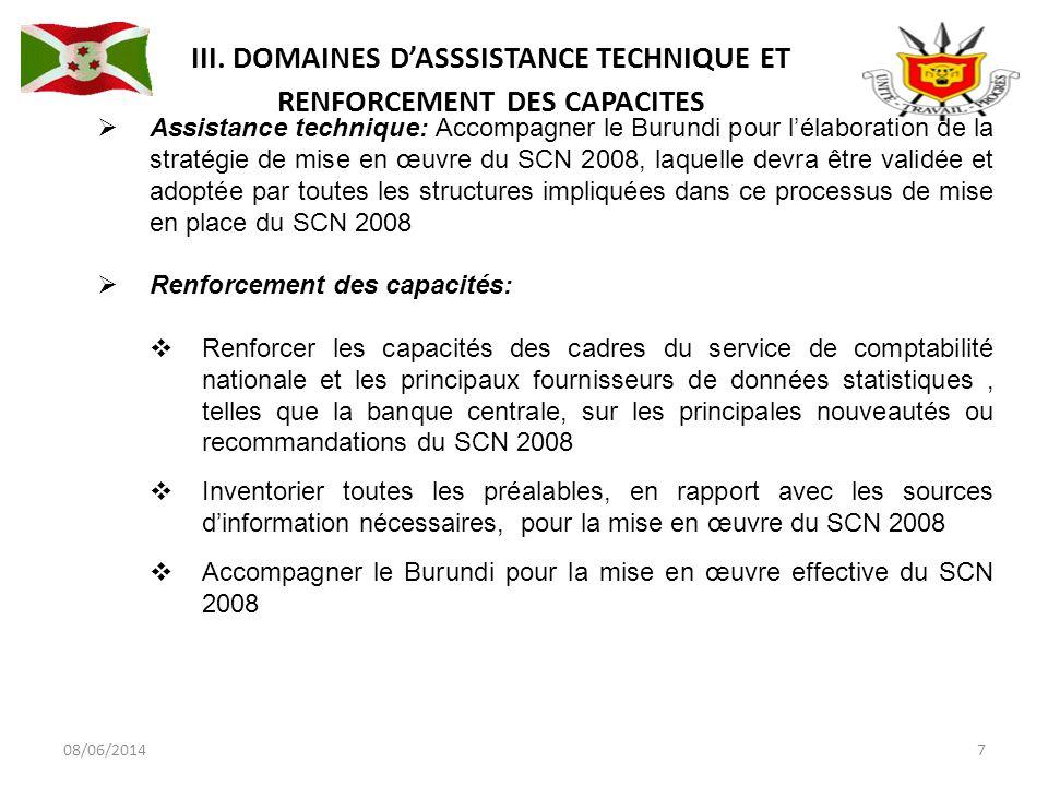 08/06/20147 Assistance technique: Accompagner le Burundi pour lélaboration de la stratégie de mise en œuvre du SCN 2008, laquelle devra être validée et adoptée par toutes les structures impliquées dans ce processus de mise en place du SCN 2008 Renforcement des capacités: Renforcer les capacités des cadres du service de comptabilité nationale et les principaux fournisseurs de données statistiques, telles que la banque centrale, sur les principales nouveautés ou recommandations du SCN 2008 Inventorier toutes les préalables, en rapport avec les sources dinformation nécessaires, pour la mise en œuvre du SCN 2008 Accompagner le Burundi pour la mise en œuvre effective du SCN 2008 III.