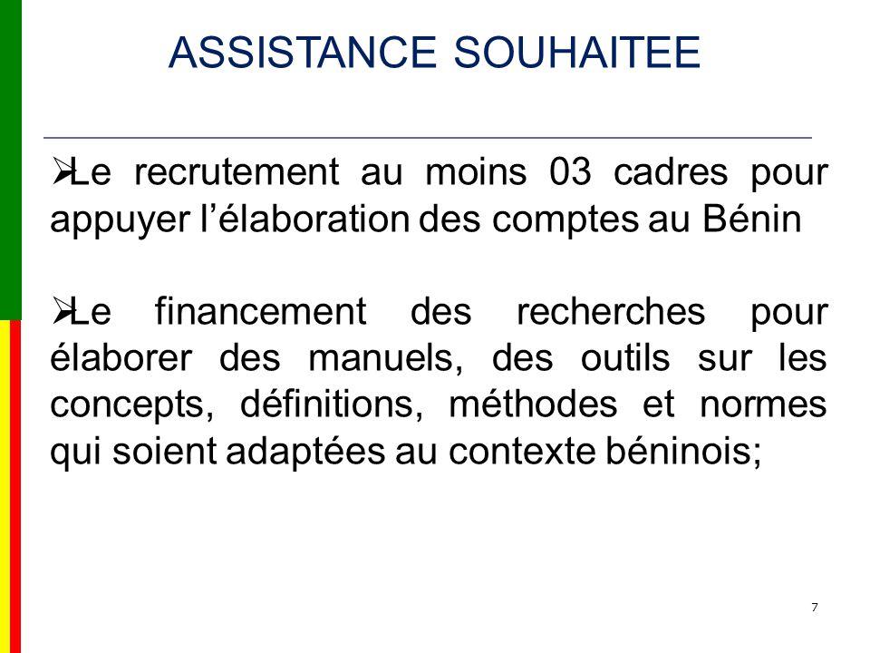 7 Le recrutement au moins 03 cadres pour appuyer lélaboration des comptes au Bénin Le financement des recherches pour élaborer des manuels, des outils sur les concepts, définitions, méthodes et normes qui soient adaptées au contexte béninois; ASSISTANCE SOUHAITEE