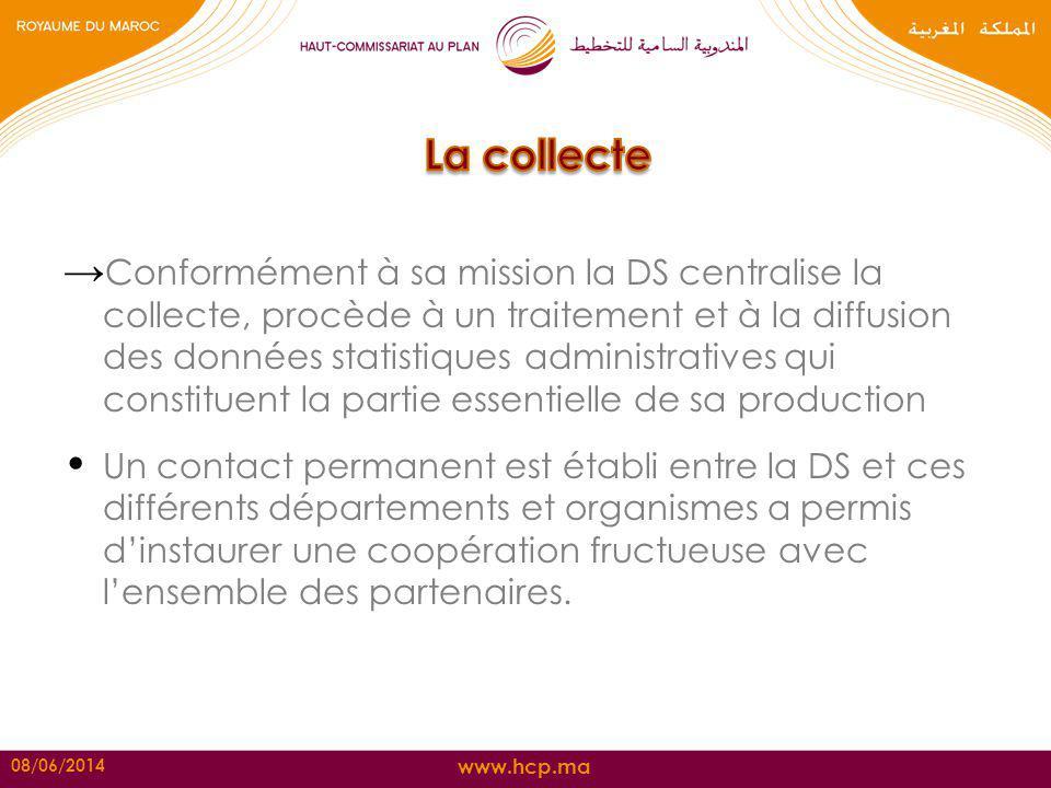 www.hcp.ma Conformément à sa mission la DS centralise la collecte, procède à un traitement et à la diffusion des données statistiques administratives