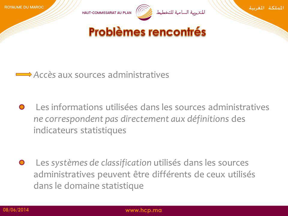 www.hcp.ma Accès aux sources administratives Les informations utilisées dans les sources administratives ne correspondent pas directement aux définiti