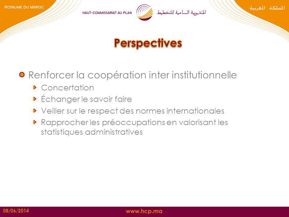 www.hcp.ma Renforcer la coopération inter institutionnelle Concertation Échanger le savoir faire Veiller sur le respect des normes internationales Rap