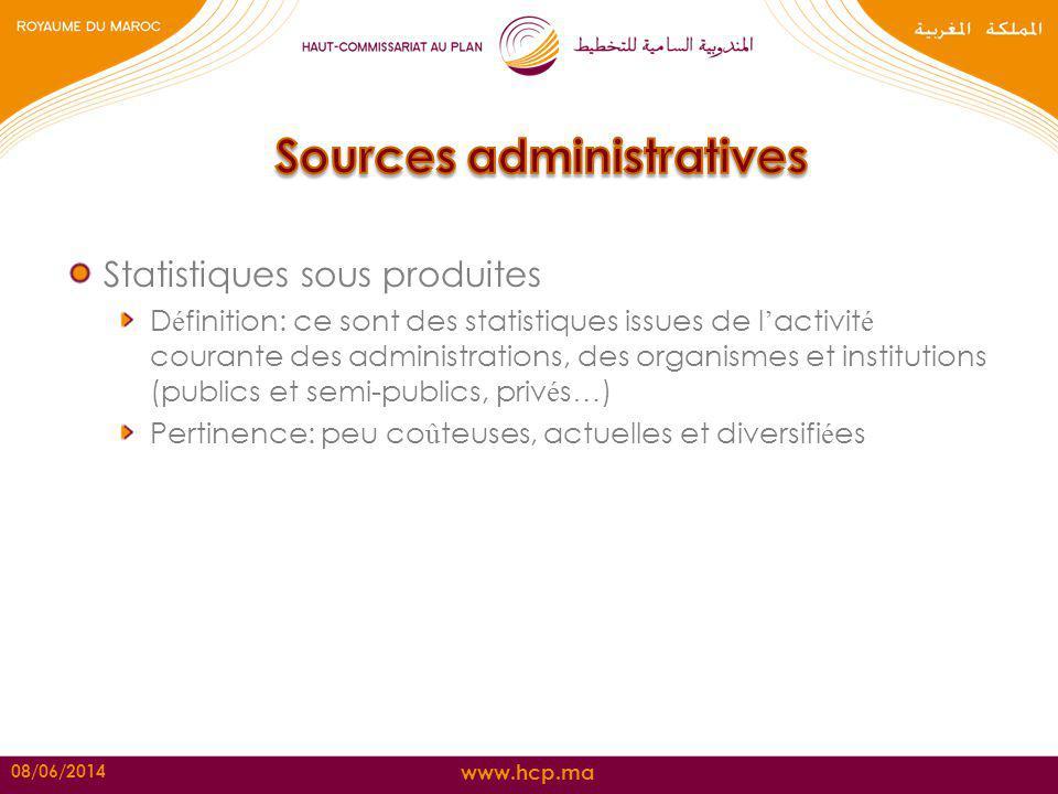 www.hcp.ma Statistiques sous produites D é finition: ce sont des statistiques issues de l activit é courante des administrations, des organismes et in