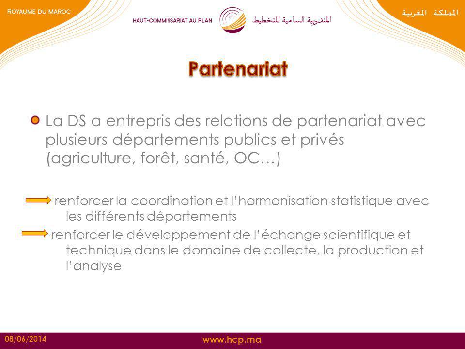www.hcp.ma La DS a entrepris des relations de partenariat avec plusieurs départements publics et privés (agriculture, forêt, santé, OC…) renforcer la