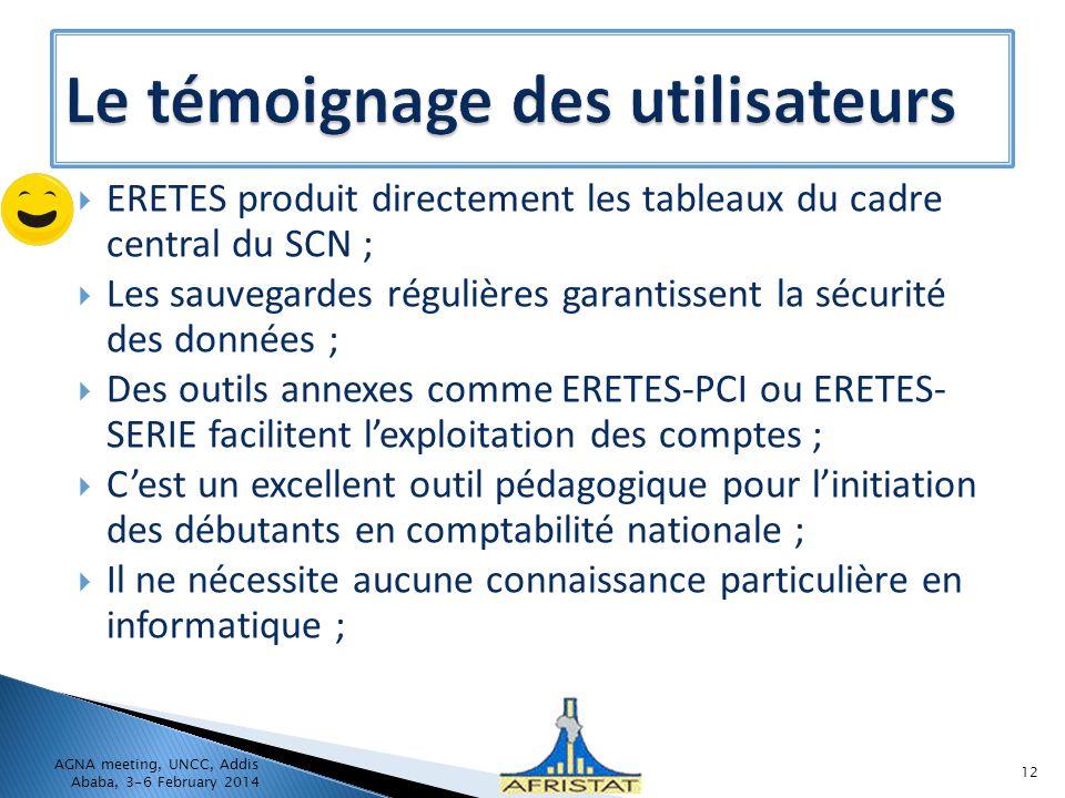 ERETES produit directement les tableaux du cadre central du SCN ; Les sauvegardes régulières garantissent la sécurité des données ; Des outils annexes