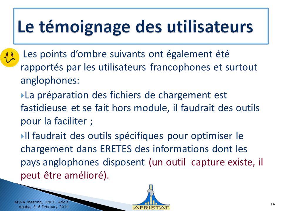 Les points dombre suivants ont également été rapportés par les utilisateurs francophones et surtout anglophones: La préparation des fichiers de charge
