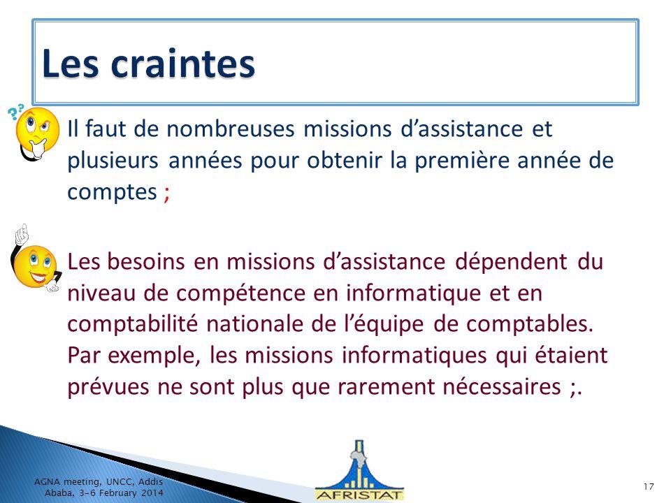 Il faut de nombreuses missions dassistance et plusieurs années pour obtenir la première année de comptes ; Les besoins en missions dassistance dépende