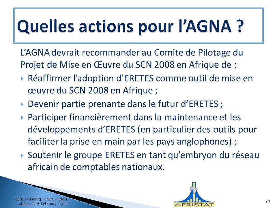 LAGNA devrait recommander au Comite de Pilotage du Projet de Mise en Œuvre du SCN 2008 en Afrique de : Réaffirmer ladoption dERETES comme outil de mis