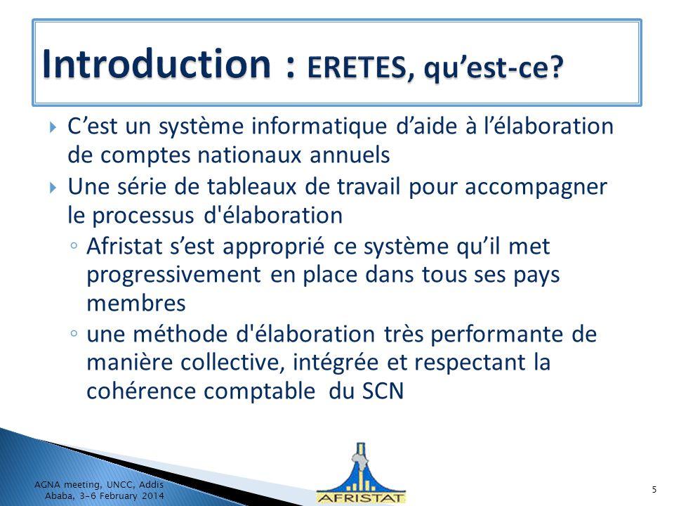 Cest un système informatique daide à lélaboration de comptes nationaux annuels Une série de tableaux de travail pour accompagner le processus d'élabor