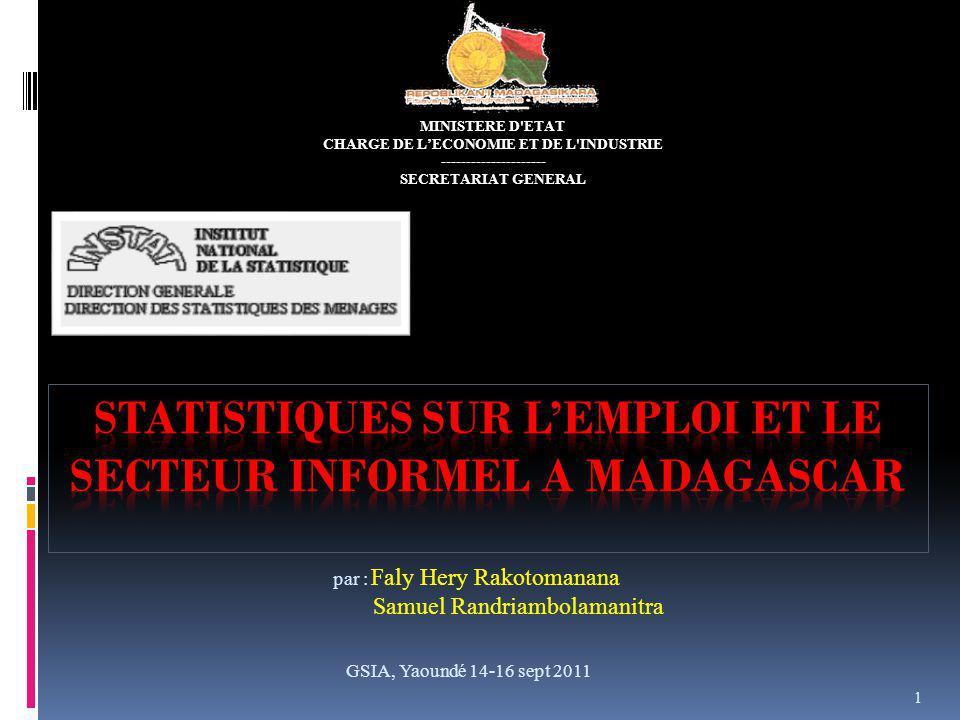 Informations disponibles Identification des emplois informels Type de contrat Existence dun état de paiement Régularité de lemploi Inscription à la caisse de retraite, caisse de sécurité sociale GSIA, Yaoundé 14-16 sept 2011 12