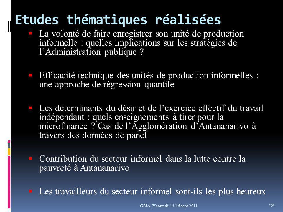 Etudes thématiques réalisées GSIA, Yaoundé 14-16 sept 2011 La volonté de faire enregistrer son unité de production informelle : quelles implications sur les stratégies de lAdministration publique .