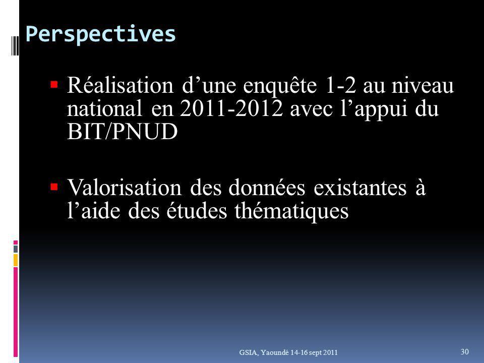 Perspectives GSIA, Yaoundé 14-16 sept 2011 Réalisation dune enquête 1-2 au niveau national en 2011-2012 avec lappui du BIT/PNUD Valorisation des données existantes à laide des études thématiques 30