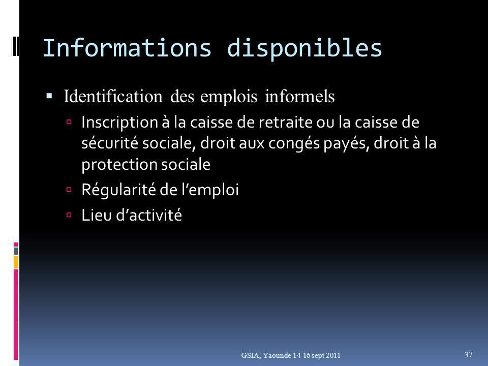 Informations disponibles Identification des emplois informels Inscription à la caisse de retraite ou la caisse de sécurité sociale, droit aux congés payés, droit à la protection sociale Régularité de lemploi Lieu dactivité GSIA, Yaoundé 14-16 sept 2011 37