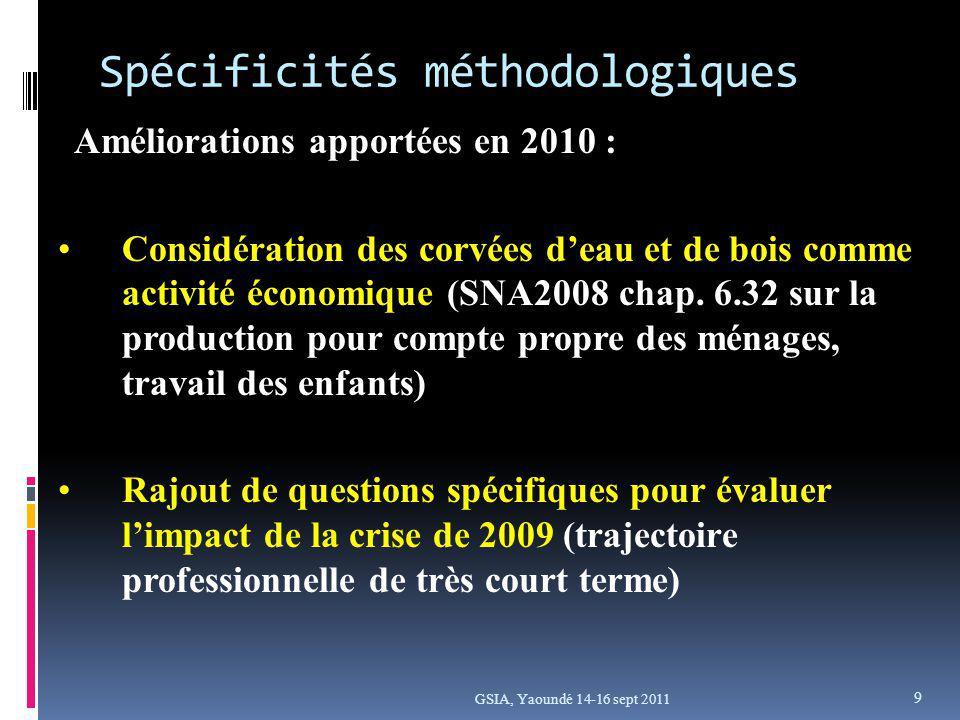 Spécificités méthodologiques Améliorations apportées en 2010 : Considération des corvées deau et de bois comme activité économique (SNA2008 chap.
