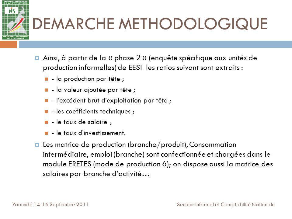 DEMARCHE METHODOLOGIQUE Ainsi, à partir de la « phase 2 » (enquête spécifique aux unités de production informelles) de EESI les ratios suivant sont ex