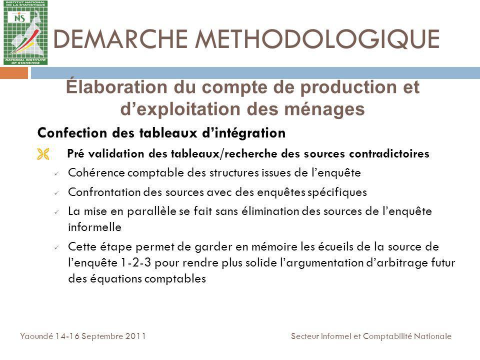 DEMARCHE METHODOLOGIQUE Confection des tableaux dintégration Pré validation des tableaux/recherche des sources contradictoires Cohérence comptable des