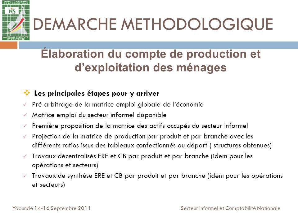 DEMARCHE METHODOLOGIQUE Les principales étapes pour y arriver Pré arbitrage de la matrice emploi globale de léconomie Matrice emploi du secteur inform