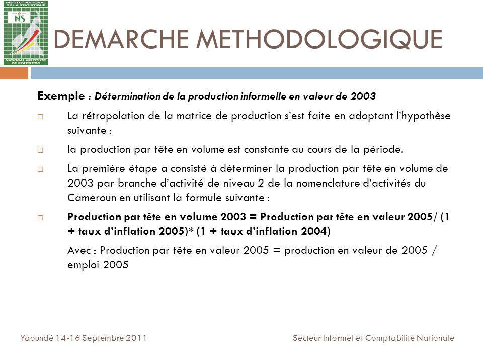 DEMARCHE METHODOLOGIQUE Exemple : Détermination de la production informelle en valeur de 2003 La rétropolation de la matrice de production sest faite