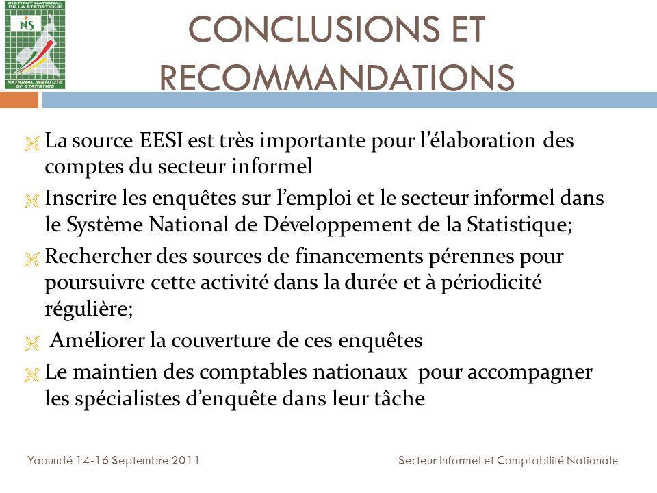 CONCLUSIONS ET RECOMMANDATIONS Yaoundé 14-16 Septembre 2011 Secteur Informel et Comptabilité Nationale La source EESI est très importante pour lélabor