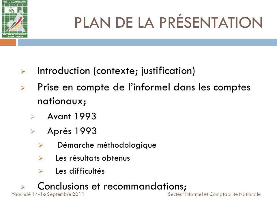 PLAN DE LA PRÉSENTATION Introduction (contexte; justification) Prise en compte de linformel dans les comptes nationaux; Avant 1993 Après 1993 Démarche