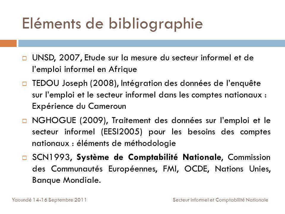 Eléments de bibliographie UNSD, 2007, Etude sur la mesure du secteur informel et de lemploi informel en Afrique TEDOU Joseph (2008), Intégration des d
