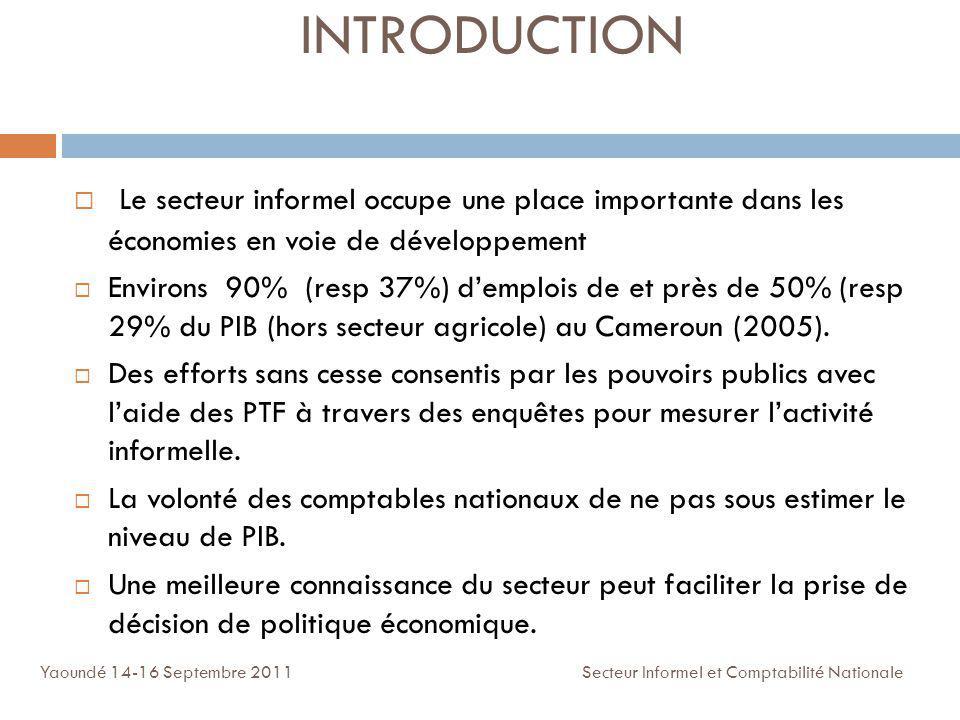 INTRODUCTION Le secteur informel occupe une place importante dans les économies en voie de développement Environs 90% (resp 37%) demplois de et près d