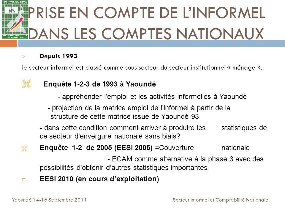 PRISE EN COMPTE DE LINFORMEL DANS LES COMPTES NATIONAUX Depuis 1993 le secteur informel est classé comme sous secteur du secteur institutionnel « ména