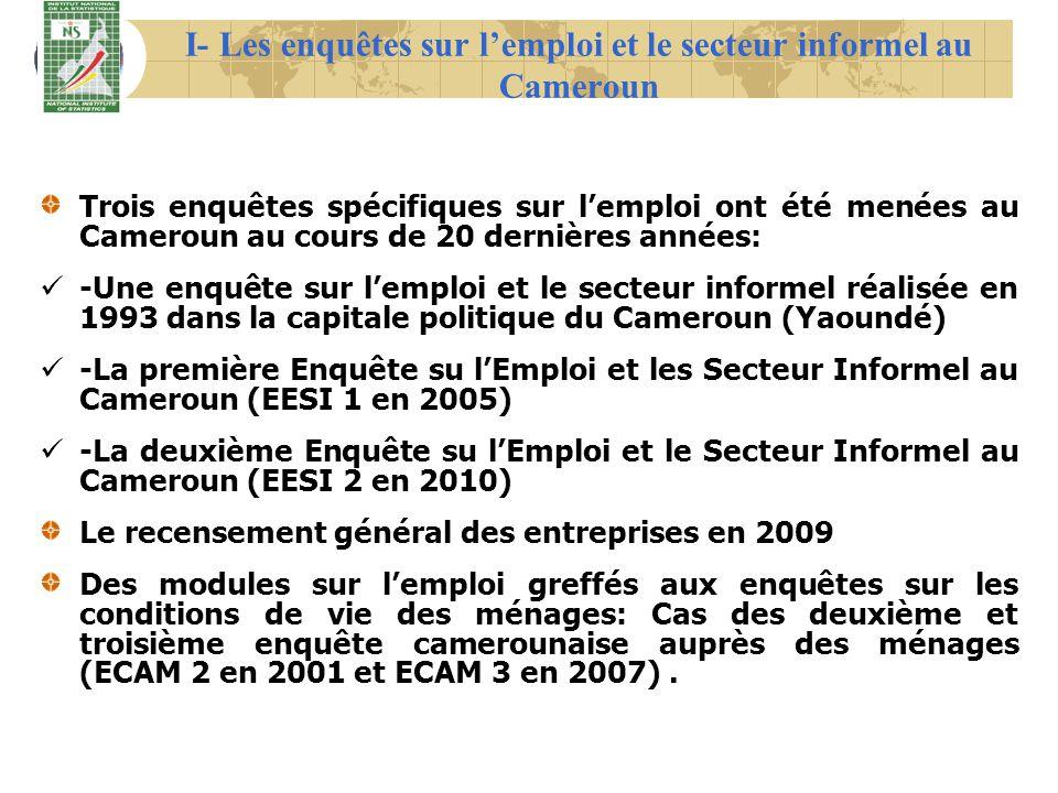I- Les enquêtes sur lemploi et le secteur informel au Cameroun Trois enquêtes spécifiques sur lemploi ont été menées au Cameroun au cours de 20 derniè