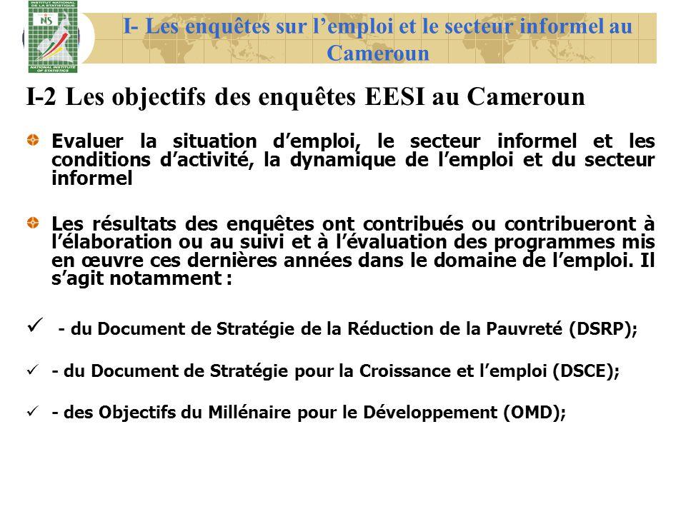 I-2 Les objectifs des enquêtes EESI au Cameroun Evaluer la situation demploi, le secteur informel et les conditions dactivité, la dynamique de lemploi
