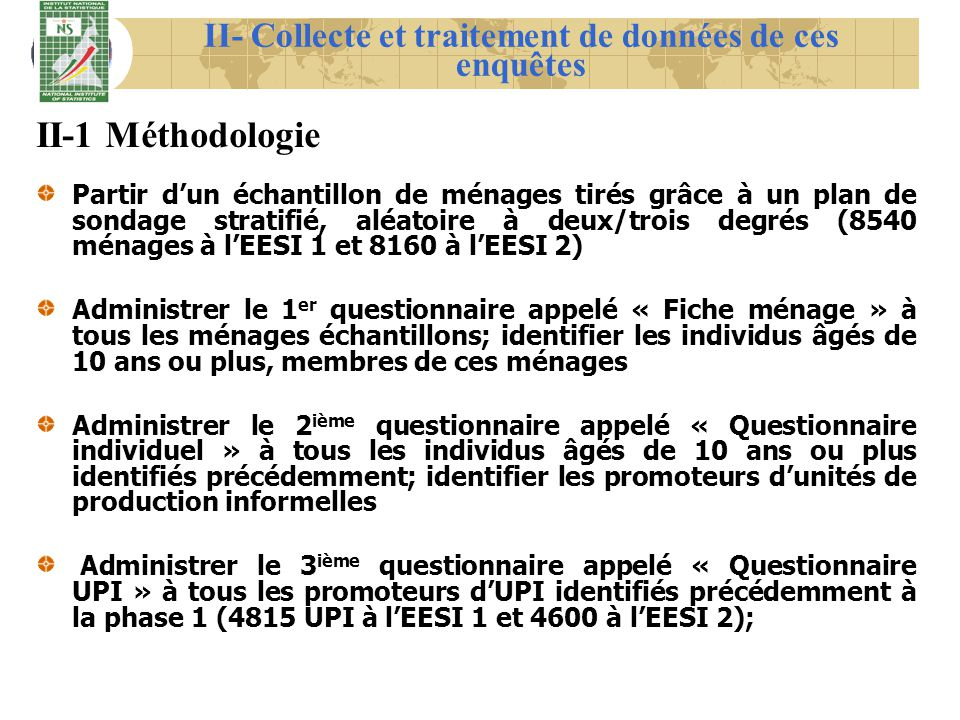II- Collecte et traitement de données de ces enquêtes ModulesObjectifs 1- Fiche ménage G.