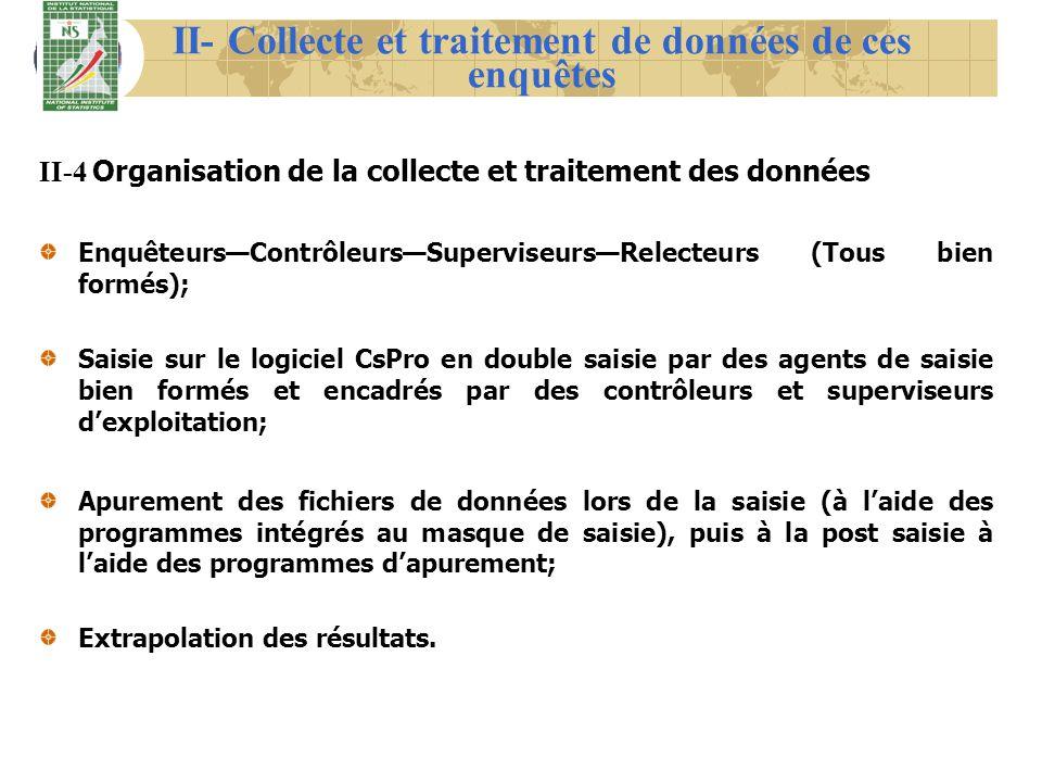 II- Collecte et traitement de données de ces enquêtes II-4 Organisation de la collecte et traitement des données EnquêteursContrôleursSuperviseursRele