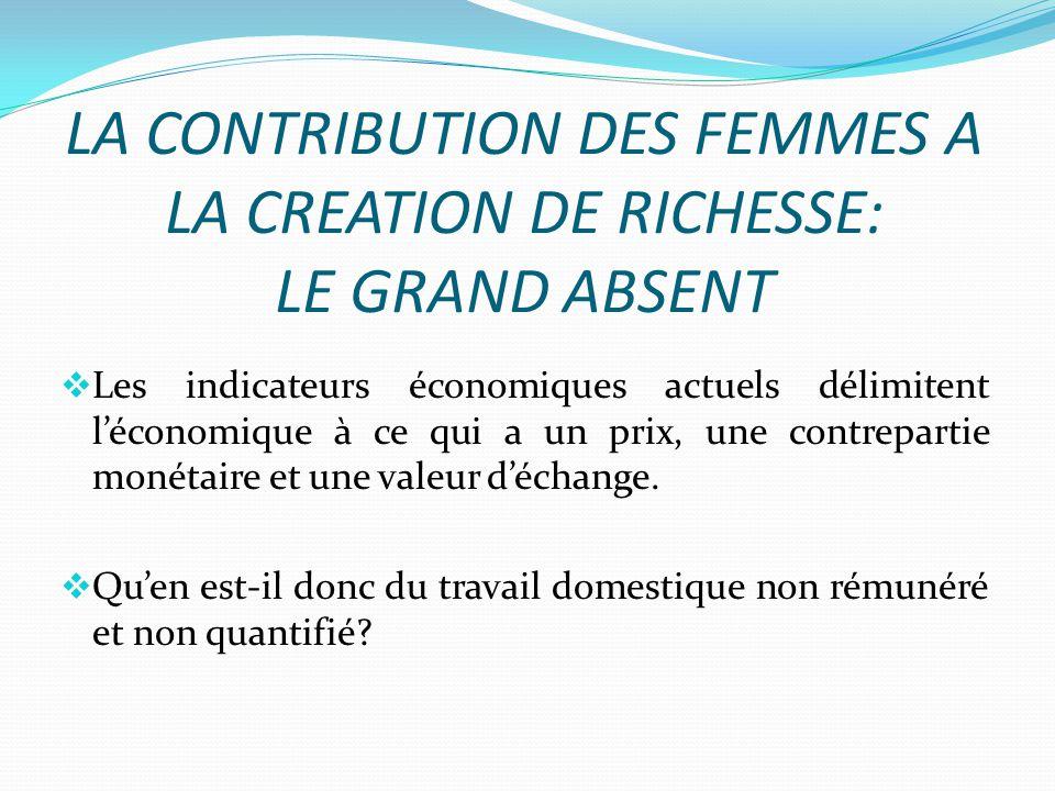LA CONTRIBUTION DES FEMMES A LA CREATION DE RICHESSE: LE GRAND ABSENT Les indicateurs économiques actuels délimitent léconomique à ce qui a un prix, une contrepartie monétaire et une valeur déchange.