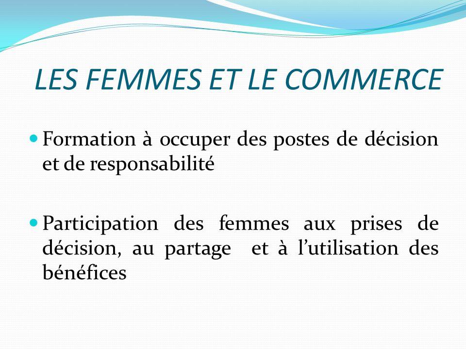 LES FEMMES ET LE COMMERCE Formation à occuper des postes de décision et de responsabilité Participation des femmes aux prises de décision, au partage et à lutilisation des bénéfices