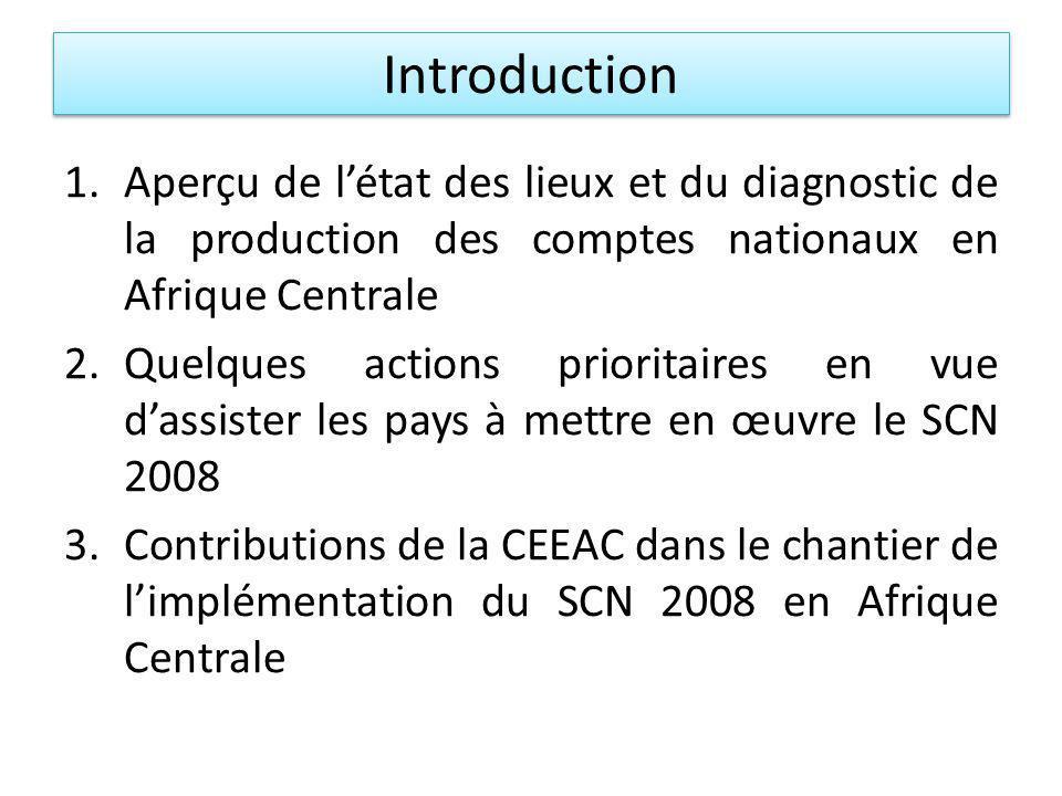 Introduction 1.Aperçu de létat des lieux et du diagnostic de la production des comptes nationaux en Afrique Centrale 2.Quelques actions prioritaires en vue dassister les pays à mettre en œuvre le SCN 2008 3.Contributions de la CEEAC dans le chantier de limplémentation du SCN 2008 en Afrique Centrale