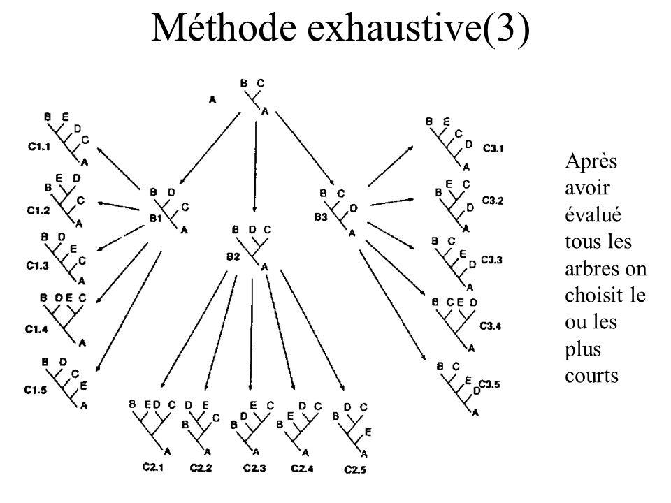 Méthode exhaustive(3) Après avoir évalué tous les arbres on choisit le ou les plus courts