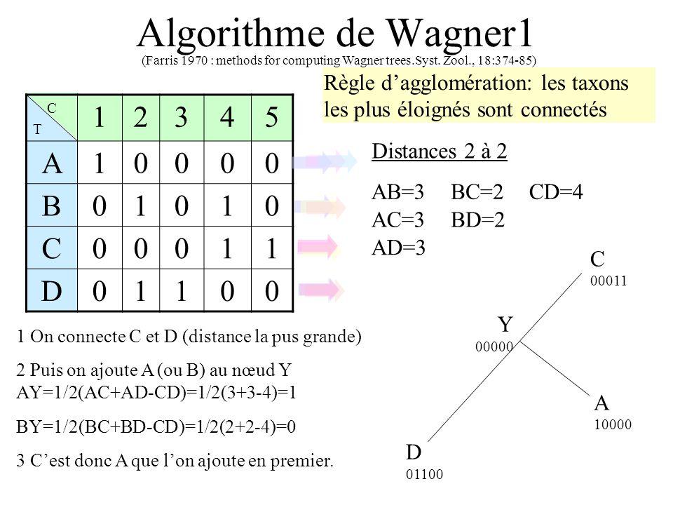 Algorithme de Wagner1 CTCT 12345 A10000 B01010 C00011 D01100 Distances 2 à 2 1 On connecte C et D (distance la pus grande) D 01100 C 00011 Y 00000 A 10000 (Farris 1970 : methods for computing Wagner trees.Syst.