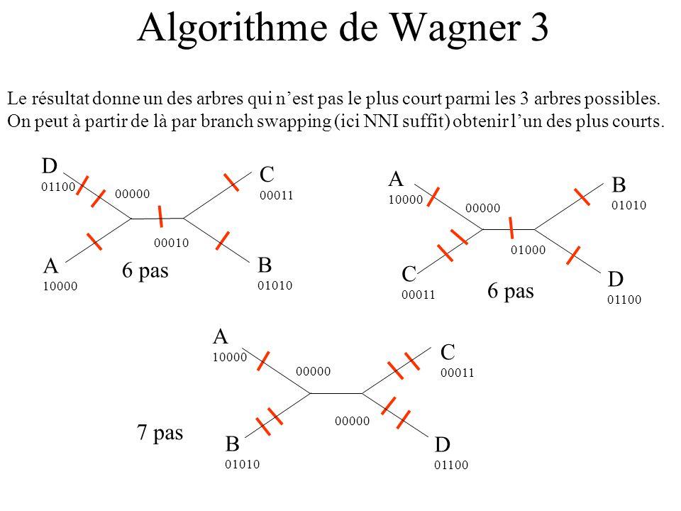 Algorithme de Wagner 3 Le résultat donne un des arbres qui nest pas le plus court parmi les 3 arbres possibles.
