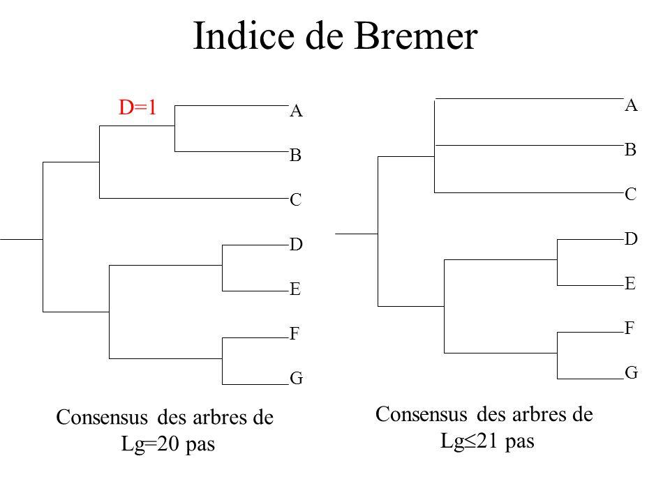 Indice de Bremer ABCDEFGABCDEFG Consensus des arbres de Lg=20 pas ABCDEFGABCDEFG Consensus des arbres de Lg 21 pas D=1