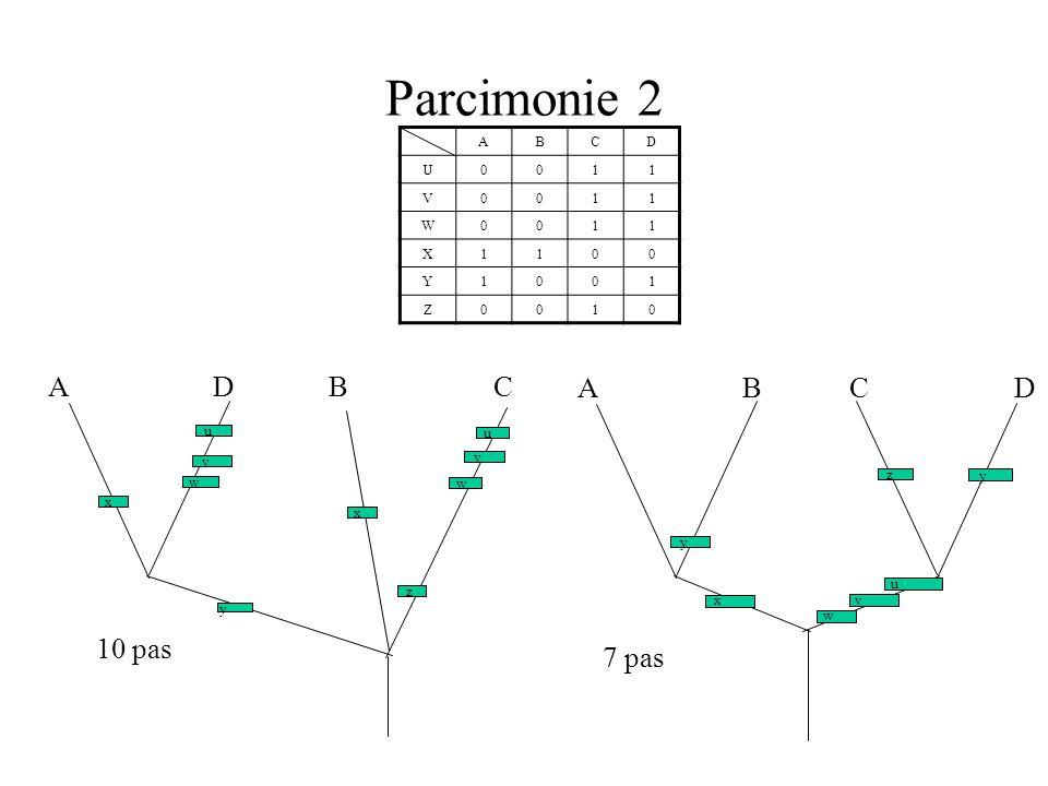 Parcimonie 2 ABCD U0011 V0011 W0011 X1100 Y1001 Z0010 A B C D u v w x y z y A D B C v v u u w w z x x y 10 pas 7